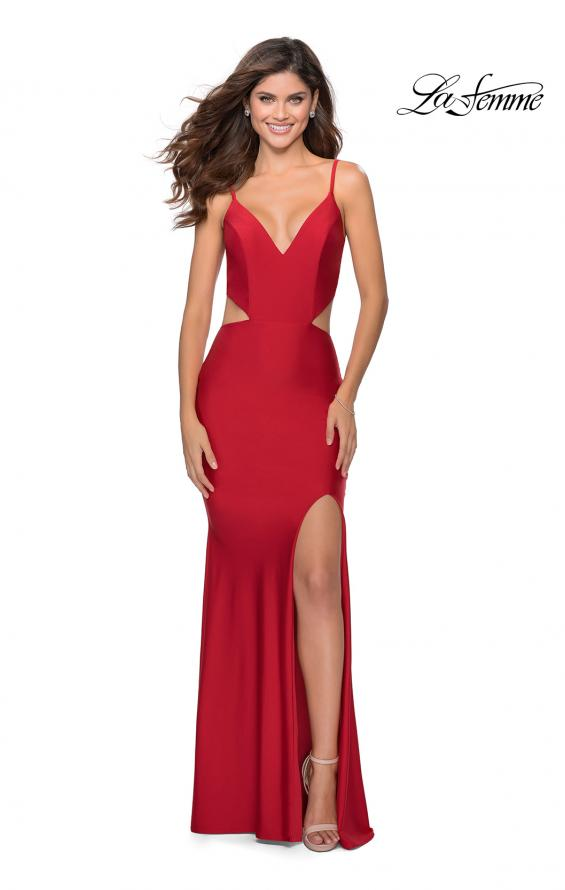 Picture of: Long Jersey Prom Dress with Cut Outs Sides in Red, Style: 28930, Detail Picture 4