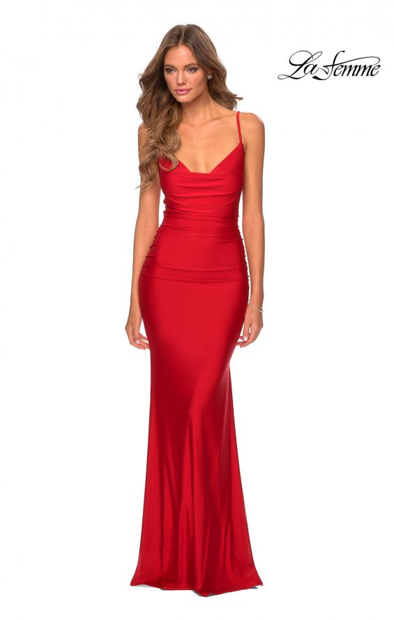Picture of: Long Jersey Dress with Draped V-Neckline and Ruching in Red, Style: 28984, Detail Picture 4