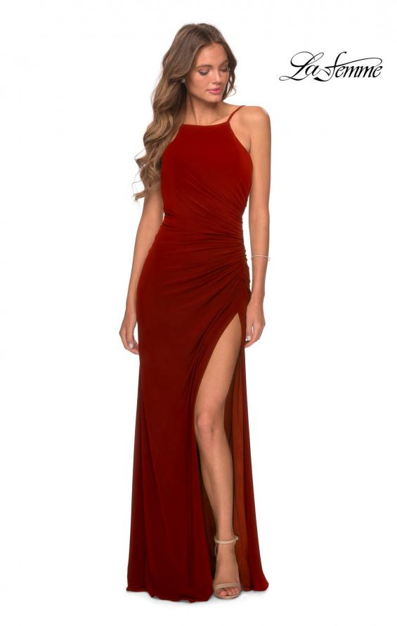 Picture of: Jersey Prom Dress with High Neck and Open Back in Red, Style: 28302, Detail Picture 5