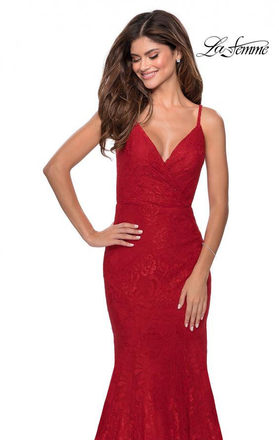 Picture of: Mermaid Lace Prom Dress with Faux Wrap Top in Red, Style: 28564, Detail Picture 5
