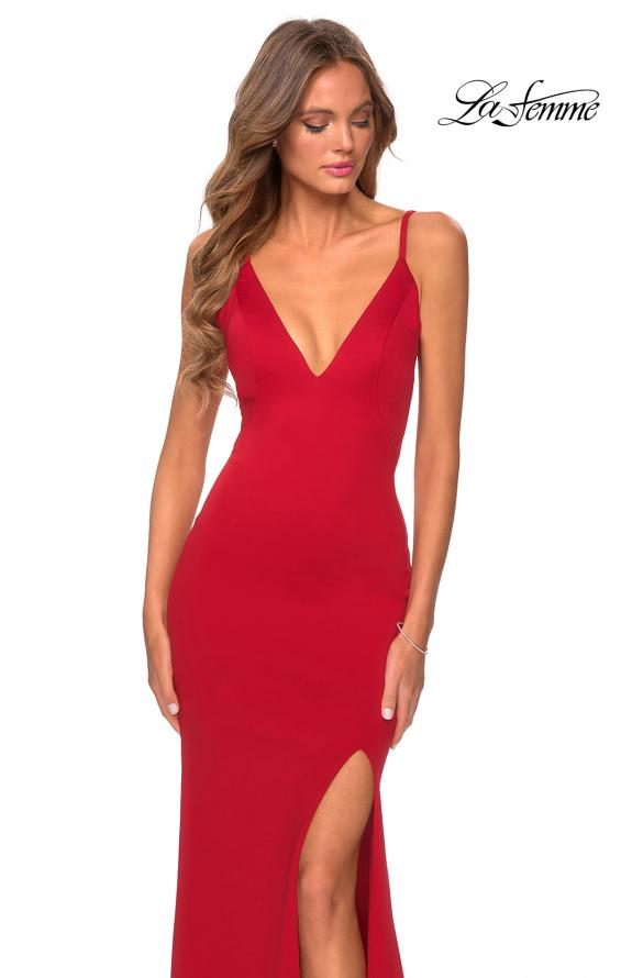 Picture of: Jersey Prom Gown with Lace Up Back and Slit in Red, Style: 28653, Detail Picture 5