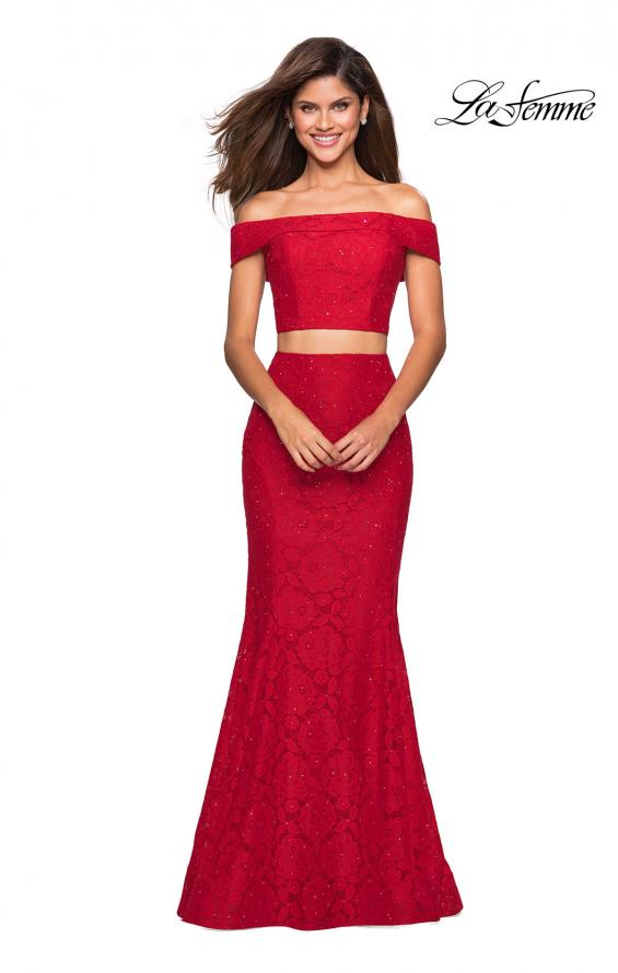 Picture of: Lace Two Piece Off the Shoulder Dress with Rhinestones in Red, Style: 27443, Detail Picture 6