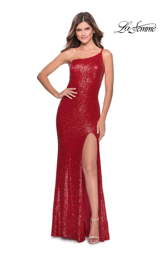 Picture of: Long Sequin Off the Shoulder Prom Dress with Slit in Red, Style: 28177, Detail Picture 6