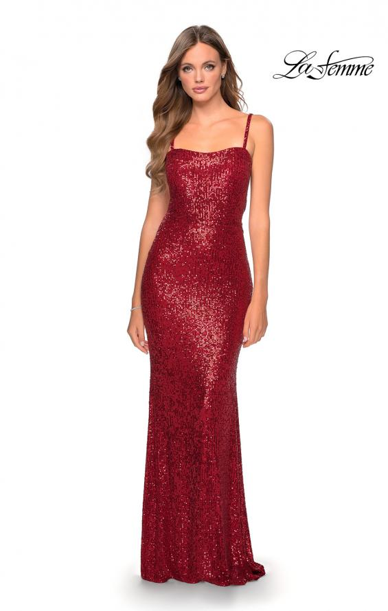Picture of: Long Sequin Prom Dress with Straight Neckline in Red, Style: 28698, Detail Picture 6