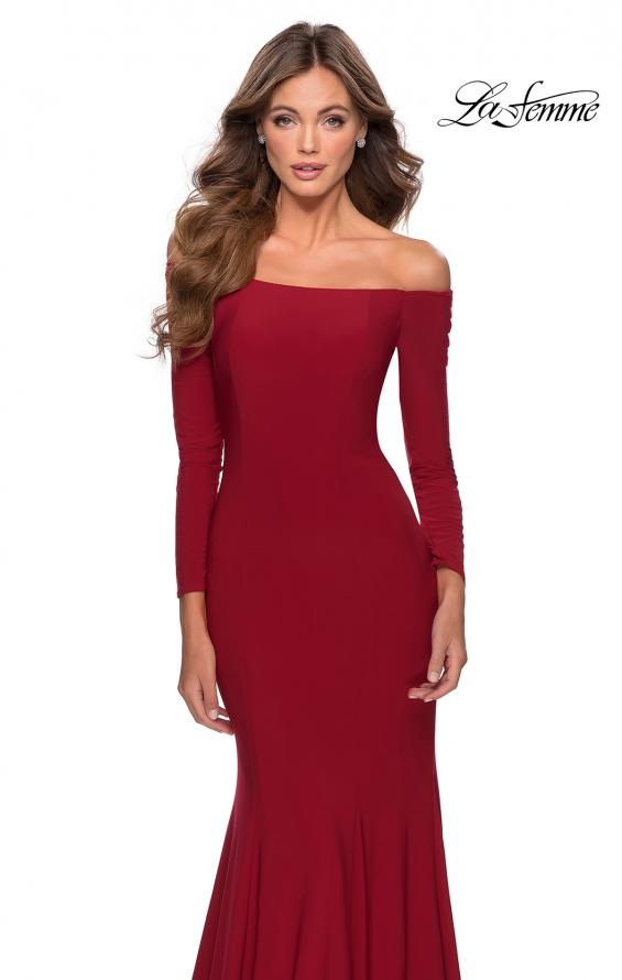 Picture of: Off the Shoulder Long Sleeve Jersey Prom Dress in Red, Style: 28754, Detail Picture 6