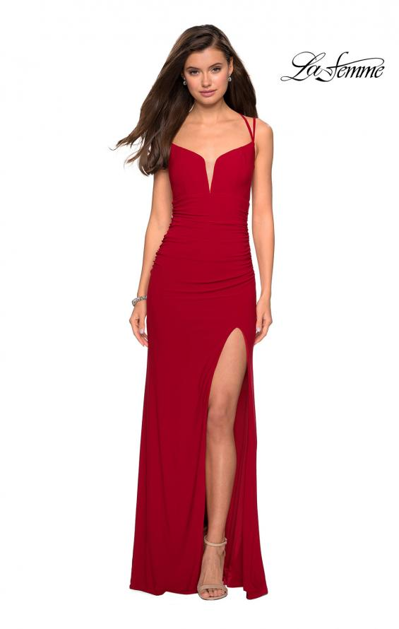 Picture of: Form Fitting Long Jersey Dress with Ruching in Red, Style: 27564, Detail Picture 7