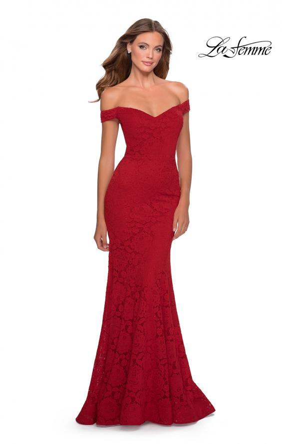 Picture of: Long Off the Shoulder Prom Dress with Lace Up Back in Red, Style: 28545, Detail Picture 7