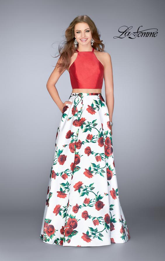 Picture of: Two Piece Mikado Dress with Floral Print Skirt in Red/Multi, Style: 24692, Main Picture