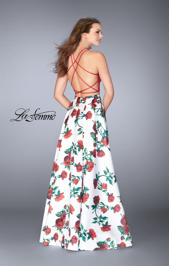 Picture of: Two Piece Mikado Dress with Floral Print Skirt in Red/Multi, Style: 24692, Back Picture