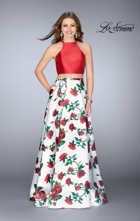 Picture of: Two Piece Mikado Dress with Floral Print Skirt in Red/Multi, Style: 24692, Detail Picture 1