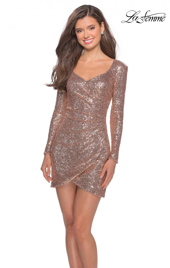 Picture of: Long Sleeve Sequin Dress with Side Ruching in Rose Gold, Style: 28219, Main Picture