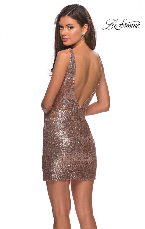 Picture of: Sequined Dress with Faux Wrap Skirt and Open Back in Rose Gold, Style: 28218, Back Picture