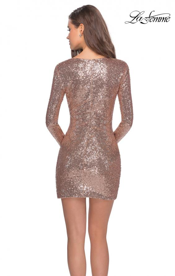 Picture of: Long Sleeve Sequin Dress with Side Ruching in Rose Gold, Style: 28219, Back Picture