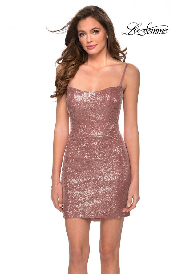 Picture of: Short Sequin Party Dress with Scoop Neckline in Rose Gold, Style: 29292, Detail Picture 1