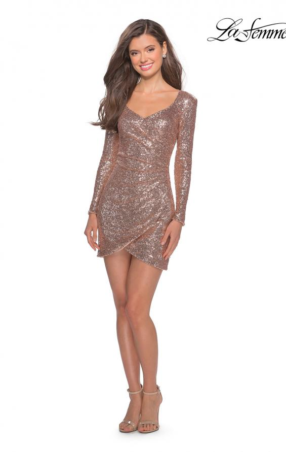 Picture of: Long Sleeve Sequin Dress with Side Ruching in Rose Gold, Style: 28219, Detail Picture 2
