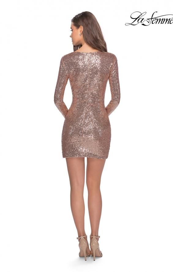 Picture of: Long Sleeve Sequin Dress with Side Ruching in Rose Gold, Style: 28219, Detail Picture 3