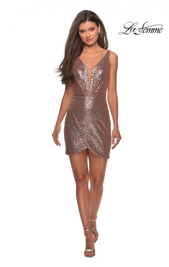 Picture of: Sequined Dress with Faux Wrap Skirt and Open Back in Rose Gold, Style: 28218, Detail Picture 5