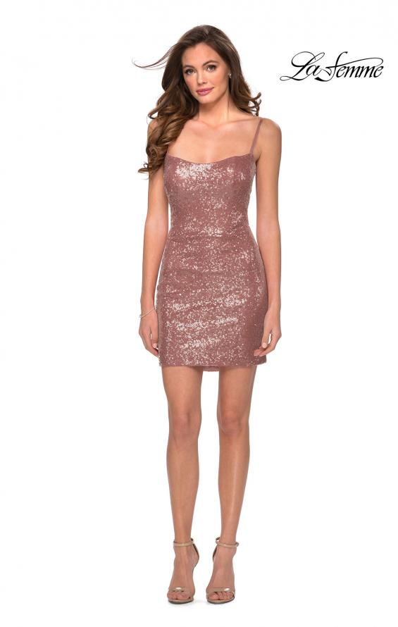 Picture of: Short Sequin Party Dress with Scoop Neckline in Rose Gold, Style: 29292, Detail Picture 5