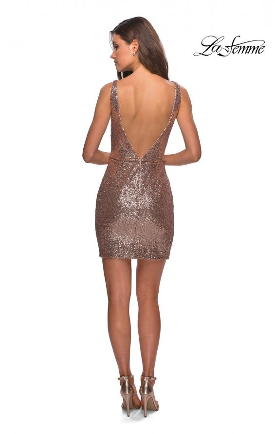 Picture of: Sequined Dress with Faux Wrap Skirt and Open Back in Rose Gold, Style: 28218, Detail Picture 6