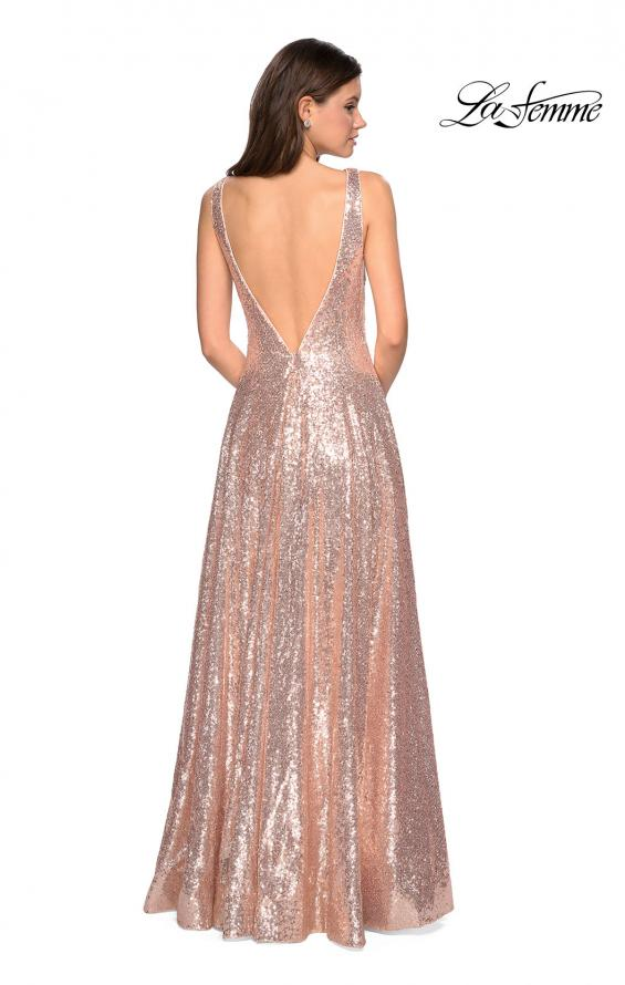 Picture of: Fully sequin A Line Gown with Illusion Sides, Style: 27061, Back Picture