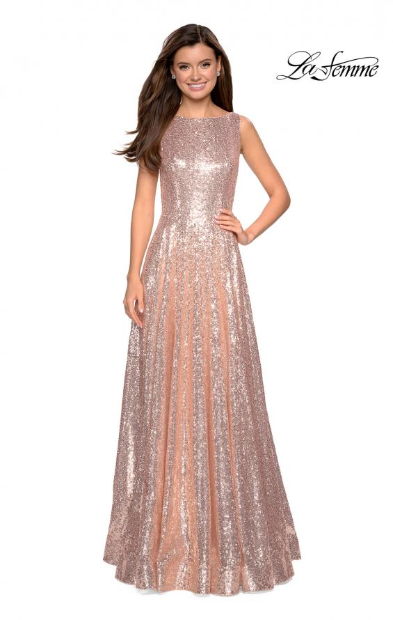 Picture of: Fully sequin A Line Gown with Illusion Sides, Style: 27061, Detail Picture 1