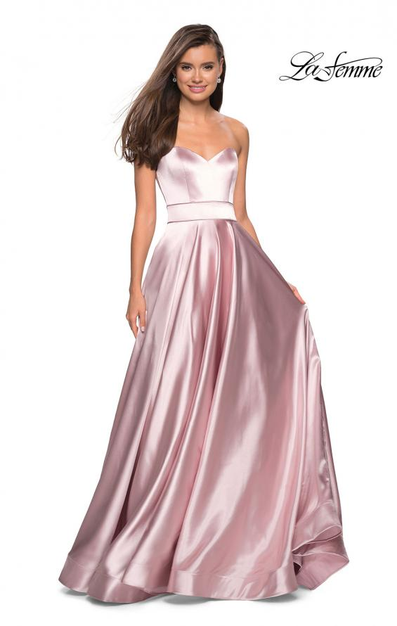 Picture of: Strapless Metallic Prom Gown with Empire Waist in Rose Gold, Style: 27506, Detail Picture 2