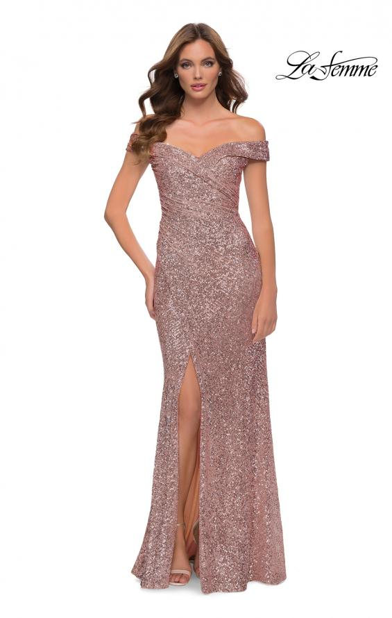 Picture of: Off the Shoulder Ruched Sequin Dress with Slit in Rose Gold, Style 29831, Detail Picture 2