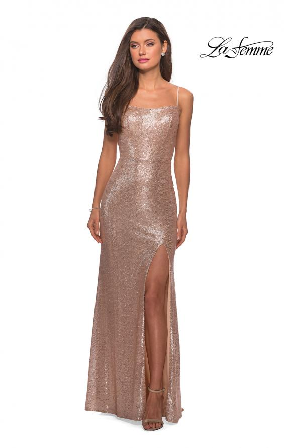 Picture of: Floor Length Fully sequin Prom Dress with Slit in Rose Gold, Style: 27272, Detail Picture 5