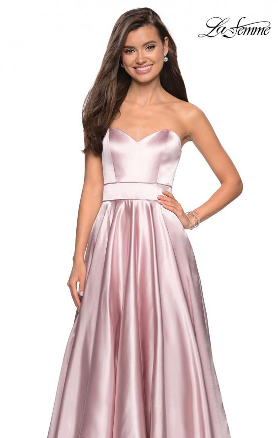 Picture of: Strapless Metallic Prom Gown with Empire Waist in Rose Gold, Style: 27506, Detail Picture 5