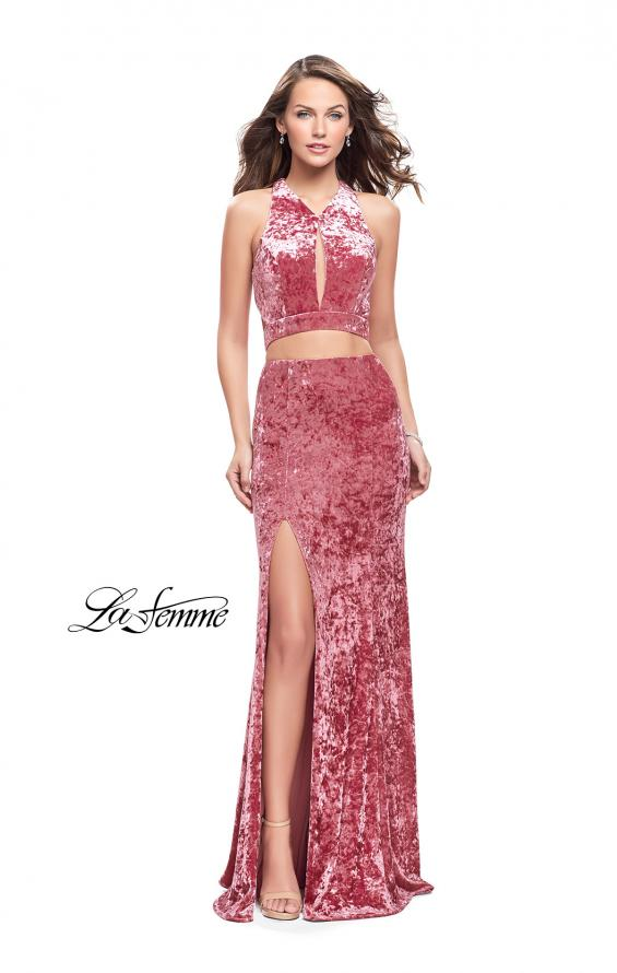 Picture of: Long Velvet Prom Dress with Crop Top and Leg Slit in Rose, Style: 25500, Detail Picture 1