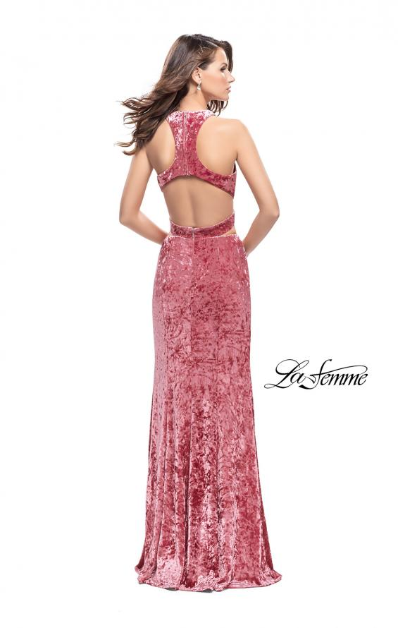 Picture of: Long Velvet Prom Dress with Crop Top and Leg Slit in Rose, Style: 25500, Detail Picture 5