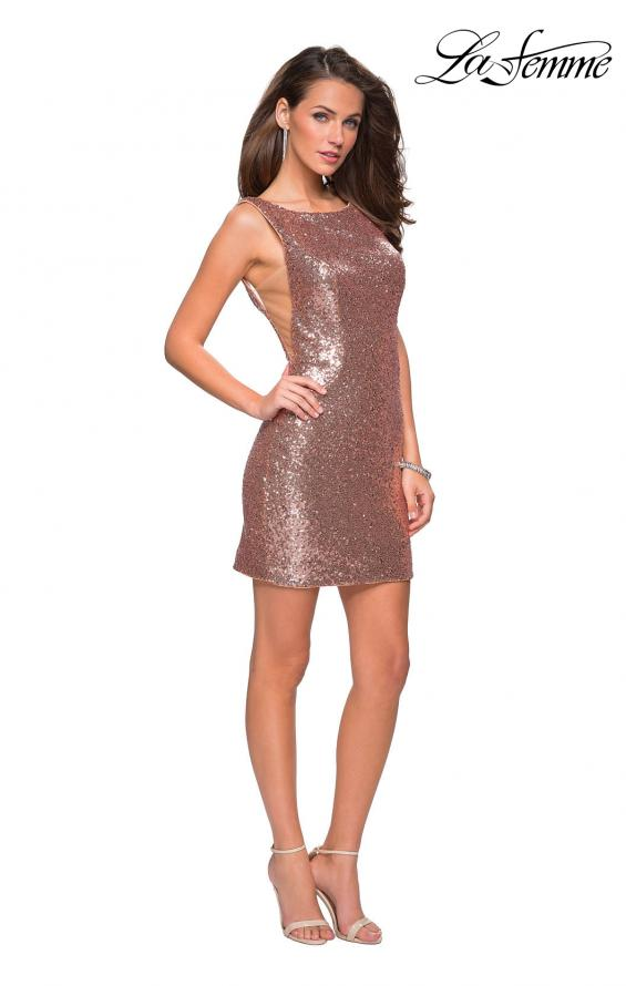 Picture of: Sequin Short Mini Dress with Low Scoop Back in Rose Gold, Style: 26614, Detail Picture 1
