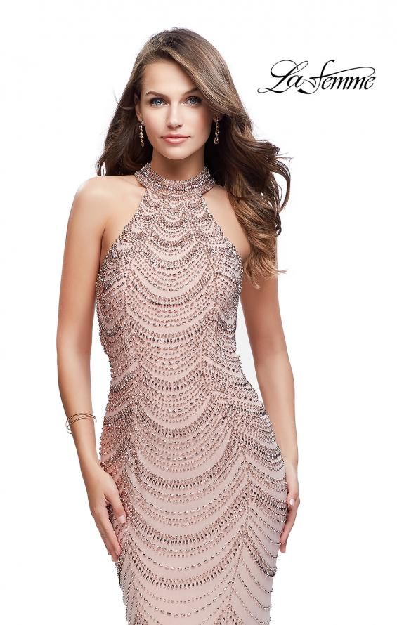 Picture of: Long Metallic Beaded High Neck Prom Dress, Style: 25930, Detail Picture 1
