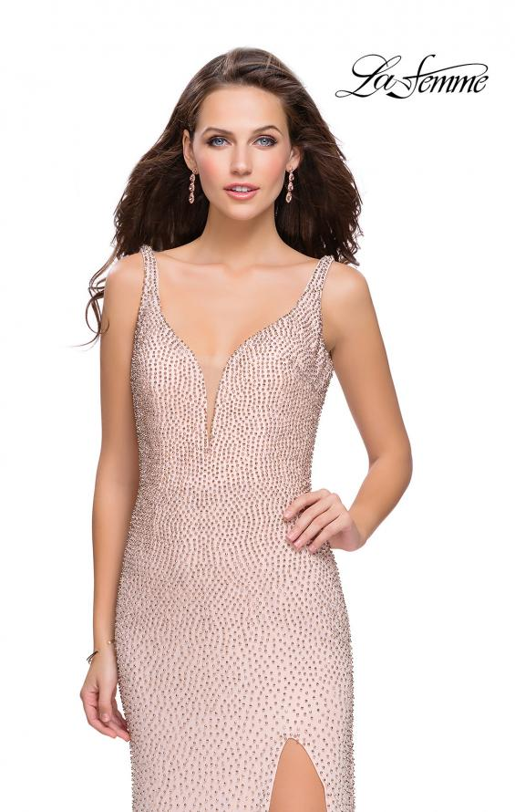 Picture of: Form Fitting Prom Dress with Metallic Beading and Slit, Style: 25931, Detail Picture 1