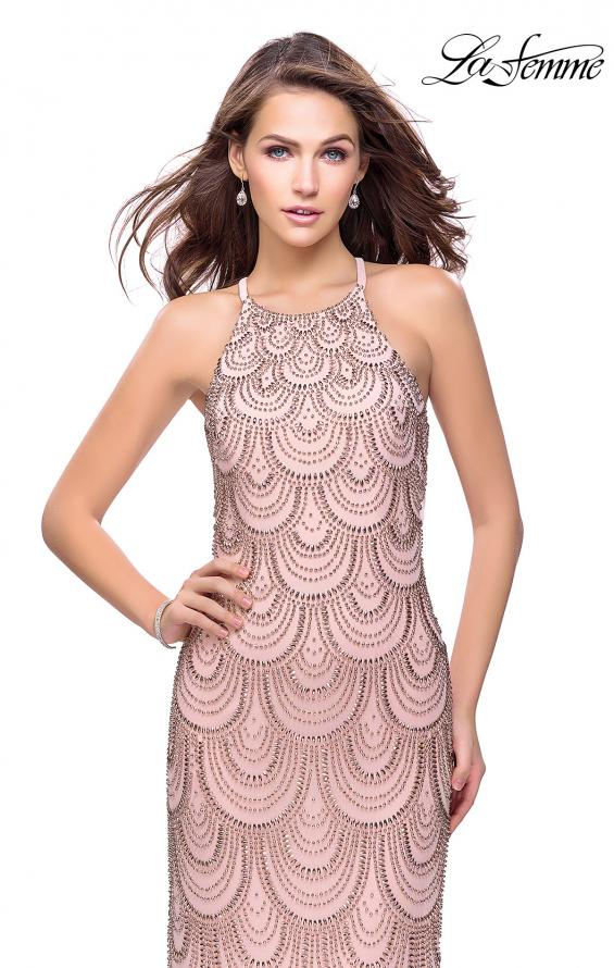 Picture of: Long Scalloped Beaded Prom Dress with High Neck in Rose Gold, Style: 26030, Detail Picture 1