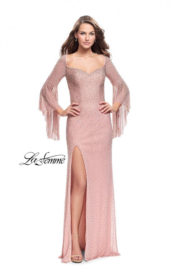 Picture of: Beaded Prom Dress with 3/4 Bell Sleeves and Leg Slit, Style: 25717, Detail Picture 3