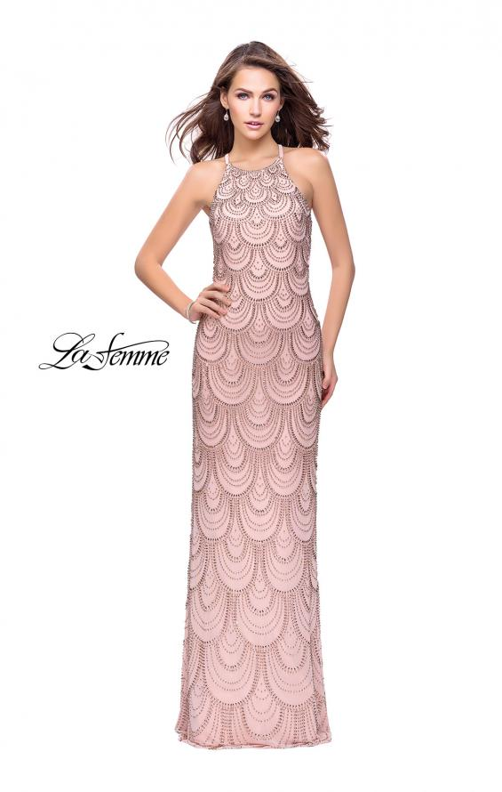 Picture of: Long Scalloped Beaded Prom Dress with High Neck in Rose Gold, Style: 26030, Detail Picture 3