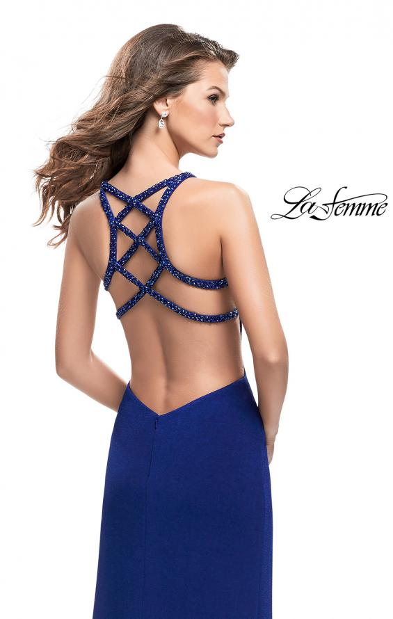 Picture of: Form Fitting Prom Dress with Metallic Straps and Slit in Royal Blue, Style: 26021, Back Picture