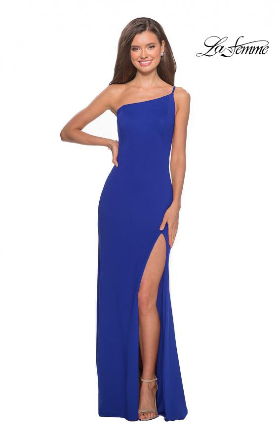 Picture of: One Shoulder Long Jersey Homecoming Dress in Royal Blue, Style: 28176, Detail Picture 11