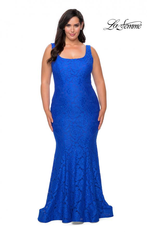 Picture of: Stretch Lace Plus Size Prom Gown with Beading in Royal Blue, Style: 28948, Main Picture
