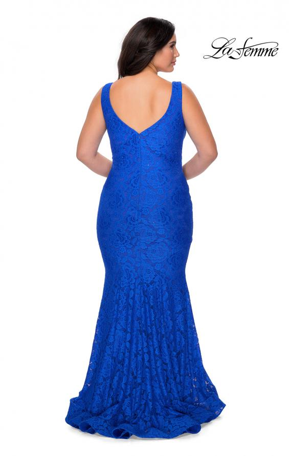 Picture of: Stretch Lace Plus Size Prom Gown with Beading in Royal Blue, Style: 28948, Back Picture