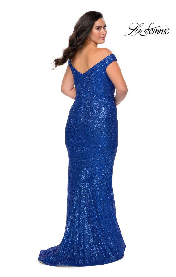 Picture of: Sequin Off The Shoulder Plus Size Prom Dress in Royal Blue, Style: 28949, Back Picture