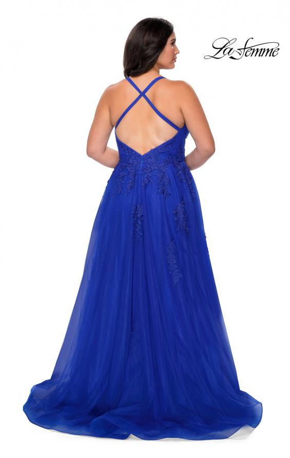 Picture of: Plus Size A-line Tulle Prom Dress with Floral Detailing in Royal Blue, Style: 29021, Back Picture