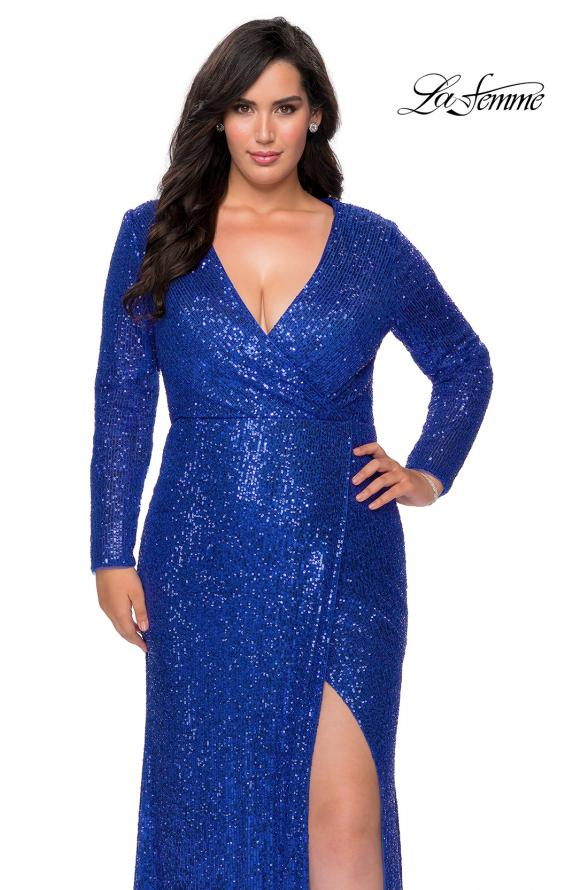 Picture of: Long Sleeve Sequin Plus Size Prom Dress with Slit in Royal Blue, Style: 28880, Detail Picture 1