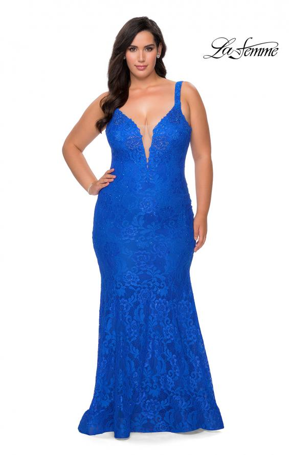 Picture of: Neon Plus SIze Prom Dress with Lace Up Back in Royal Blue, Style: 29052, Detail Picture 1