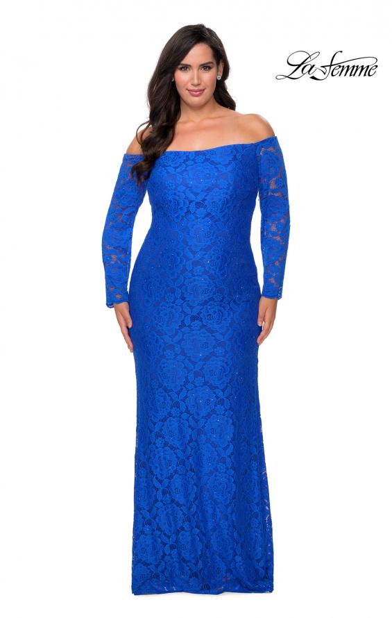 Picture of: Long Sleeve Off The Shoulder Lace Plus Size Dress in Royal Blue, Style: 28859, Detail Picture 3