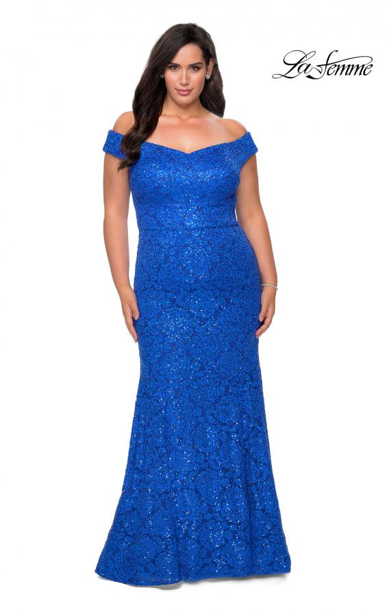Picture of: Off the Shoulder Lace Plus Dress with Defined Waist in Royal Blue, Style: 28883, Detail Picture 3
