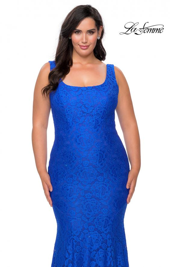 Picture of: Stretch Lace Plus Size Prom Gown with Beading in Royal Blue, Style: 28948