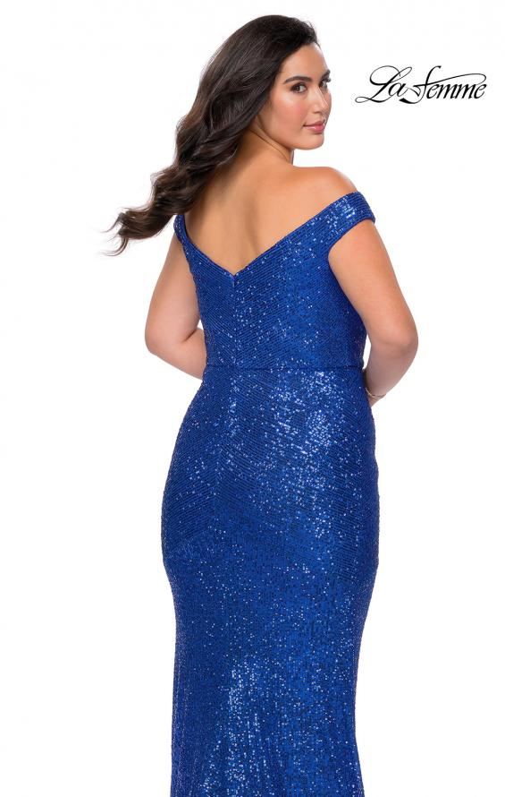 Picture of: Sequin Off The Shoulder Plus Size Prom Dress in Royal Blue, Style: 28949, Detail Picture 3