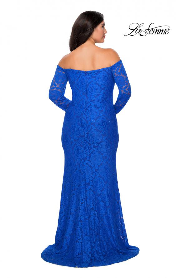 Picture of: Long Sleeve Off The Shoulder Lace Plus Size Dress in Royal Blue, Style: 28859, Detail Picture 4
